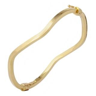 14k Italian Yellow Gold Square Tube Twisted Bangle Bracelet