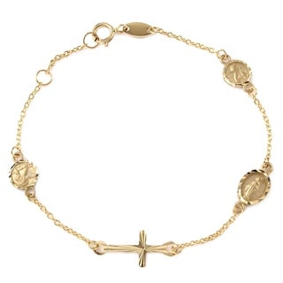 Girls' 14k Yellow Gold Miraculous Medal, Angel, and Cross Bracelet