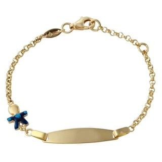 14k Yellow Gold 6-inch Boy Baby ID Enamel Bracelet