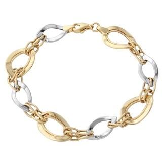 Gold 14k Two Tone Link Bracelet