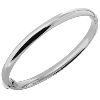 10k White Gold 6.1-millimeter Polished Dome Bangle Bracelet