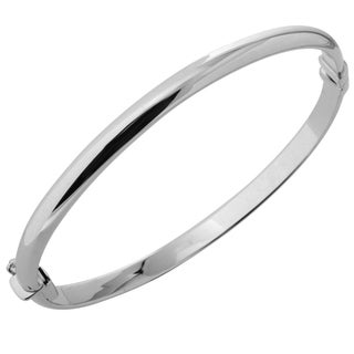 10K White Gold 5mm Polished Dome Bangle Bracelet