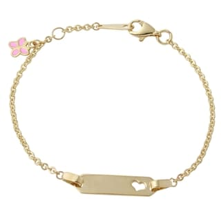14k Yellow Gold Butterfly Charm Heart 6-inch Baby ID Bracelet