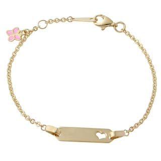 14k Yellow Gold Butterfly Charm Heart 6-inch Baby ID Bracelet|https://ak1.ostkcdn.com/images/products/11977798/P18859816.jpg?impolicy=medium