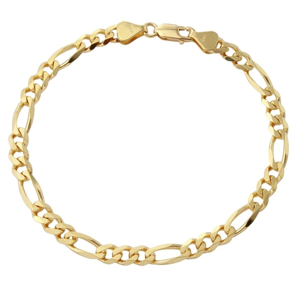 367f7f45d Shop 18k Yellow Gold Men's 5.65-millimeter 8-inch Figaro Bracelet ...