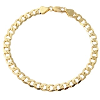 Men's 18k Yellow Gold 8-inch Diamond-cut Beveled Flat-curb Cuban Bracelet