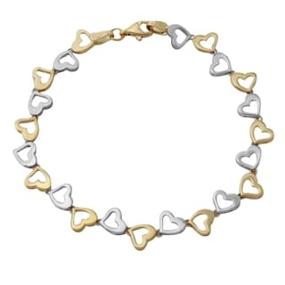 14k Two-tone Gold High Polished Hearts 7.25-inch Bracelet