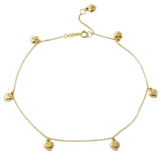14k Yellow Gold Puffy Heart Rolo Chain Charm Bracelet