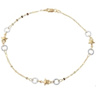 14k Two-tone Gold 9.5-inch Star Italian Anklet