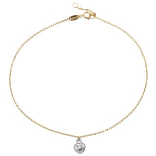 14k Yellow and White Gold 9- to 10-inch Dangle Heart Charm Adjustable Anklet