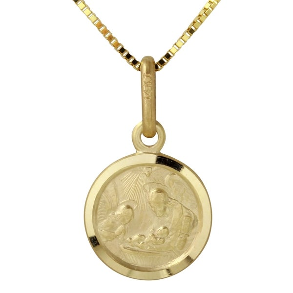 pendant s image loading itm baptism medallion medal is gold christening yellow solid italian