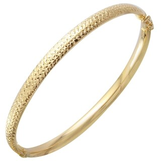14k Yellow Gold D-cut Bangle Bracelet
