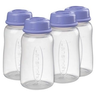 Lansinoh Plastic Breastmilk Storage Bottles (Pack of 4)