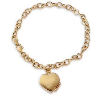 14k Yellow Gold 7.5-inch High-polish Heart Locket Bracelet