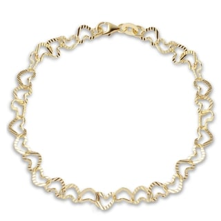 14k Yellow Gold Hammered Heart 7-inch Italian Bracelet