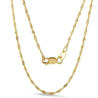 18k Yellow Gold Diamond Cut 18-inch 1.2-millimeter Rope Chain Necklace