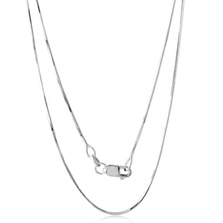 18k White Gold 18-inch 0.7-millimeter D-cut Snake Chain Necklace
