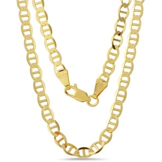 Men's 10k Yellow Gold 4.2mm Flat Mariner 24-inch Chain Necklace