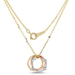 14k Tricolor Gold Diamond 18-inch Circle Necklace