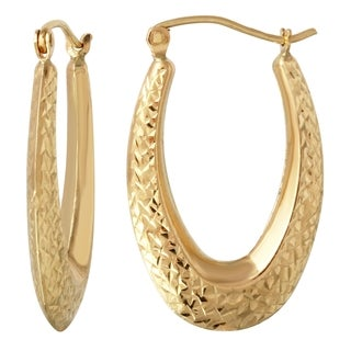 14k Yellow Gold D-cut Hoop Earrings