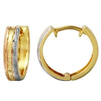 14k Tri-color Gold Leverback Earrings