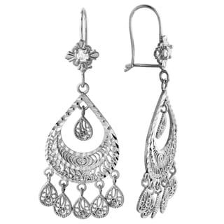 14k White Gold Chandelier Earrings