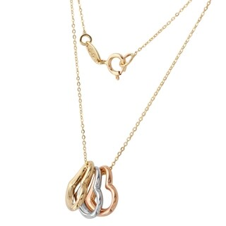 14k Tri-color Gold 17-inch Rolo Chain Trio Hearts Necklace