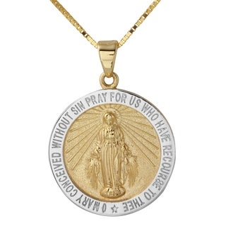 14k Two-tone Gold Virgin Mary Miraculous Round Medal Necklace