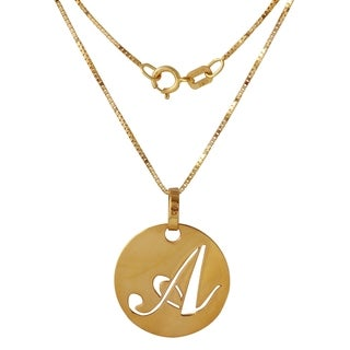 14k Yellow Gold Italian Script Initial 'A' Disc 18-inch Pendant Necklace