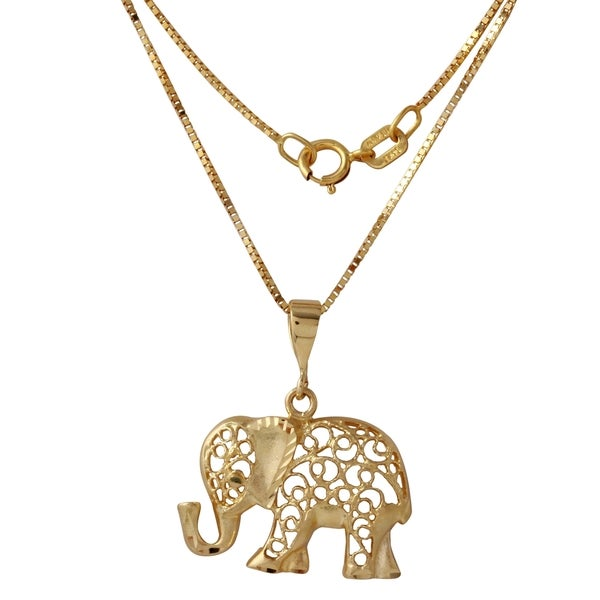 14k yellow gold 18 inch diamond cut elephant pendant necklace free 14k yellow gold 18 inch diamond cut elephant pendant necklace aloadofball Images