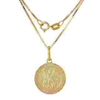 Shop 14k yellow gold polished and satin st michael medal pendant 14k yellow gold st michael medal mozeypictures Image collections