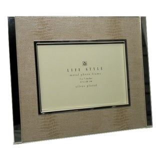 Heim Concept Light Beige Faux Snakeskin Photo Frame 4x6""
