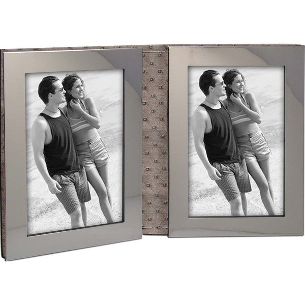 """Heim Concept Nickel Plated Luxe Double Photo Frame 4x6"""", PU Back"""