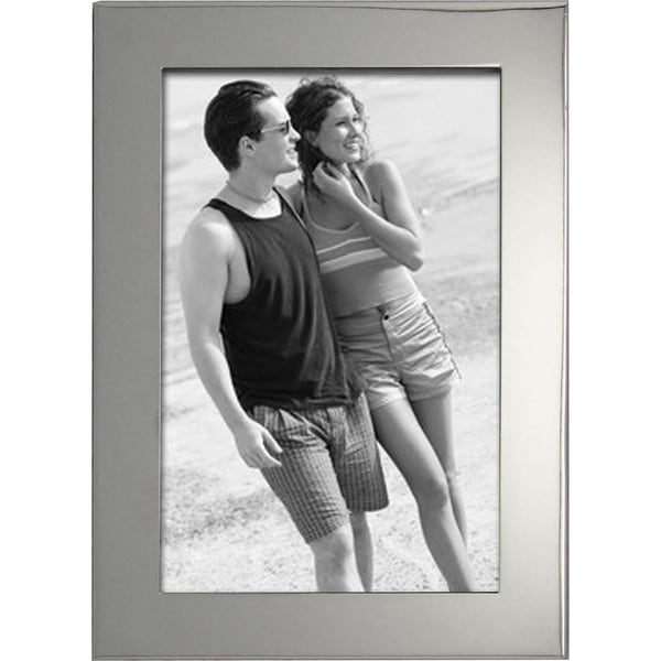 """Heim Concept Luxe Nickel Plated 4x6"""" Photo Frame, PU Back"""