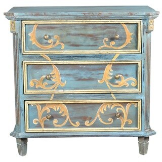Chanda Blue Three Drawer Accent Chest