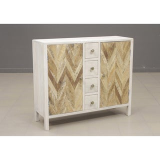Derron White Two Door, Four Drawer Accent Cabinet