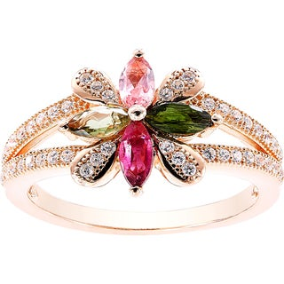 Pink Sterling Silver Multicolor Tourmaline Flower-shape Ring