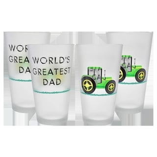 Culver 'World's Greatest Dad' Black/Green Frosted 16-ounce Pint Glass (Set of 4)