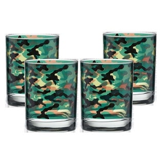 Culver Camouflage 14-ounce Double Old-fashioned Glass (Pack of 4)