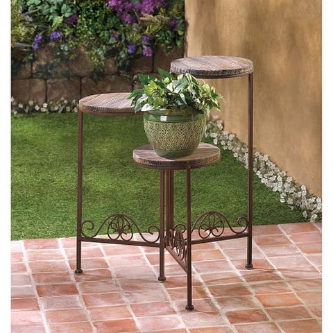 Brown Wood/Wrought Iron Graduated Garden Tri-stand