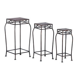 Dover Black Metal Multi-height Plant Stands (Set of 3)