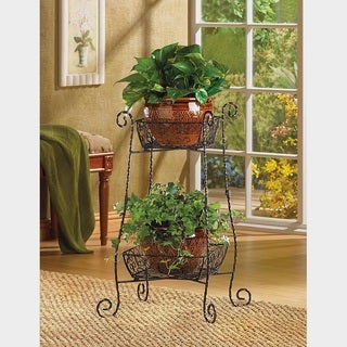 Scrolling Wrought Iron Two-tier Plant Stand