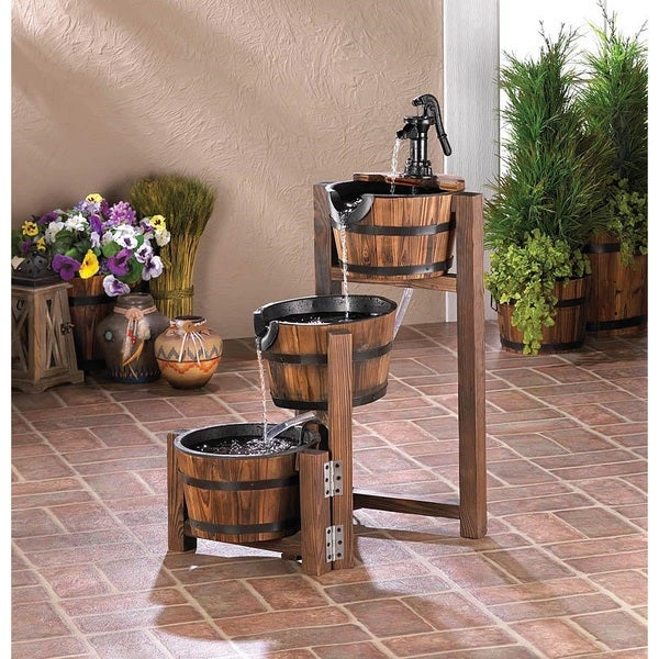 Shop Richmond Black/Brown Wood/Iron Barrel Water Fountain