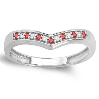 Elora 10K Gold 1/6 ct. Round Ruby & White Diamond Wedding Stackable Band Anniversary Guard Chevron Ring (I