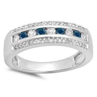 Elora 14K Gold 1/2 ct. TDW Round Blue & White Diamond Ladies Anniversary Wedding Band (H-I & Blue,I1-I2)