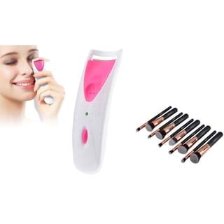 Zodaca 10-piece Rose Gold Cosmetic Eye Shadow Makeup Brush Set with Pink Electric Heated Handy Eyelash Curler