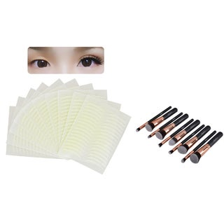Zodaca 10-piece Rose Gold Cosmetic Eye Shadow Makeup Brush Set with 160-pair 2.2-mm Arch-shaped Double Eyelid Tape Stickers