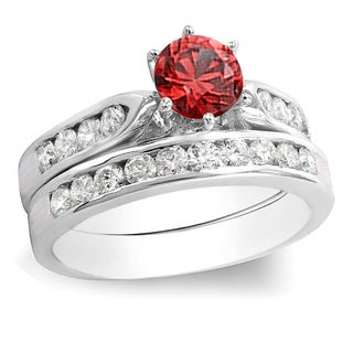 14k Gold Round Red Ruby and 1ct TW Diamond Bridal Engagement Ring Set (H-I, I1-I2)