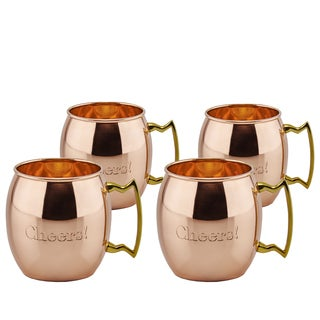 Old Dutch Solid Copper 16-ounce 'Cheers!' Moscow Mule Mugs (Set of 4)