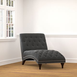 Handy Living Palermo Grey Velvet Snuggler Chaise